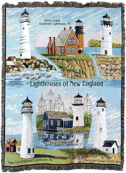 Throw Blanket-Woven Tapestry-Coastal-Lighthouses-New England