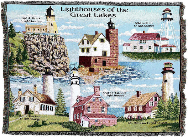 Throw Blanket-Woven Tapestry-Coastal-Lighthouses-Great Lakes