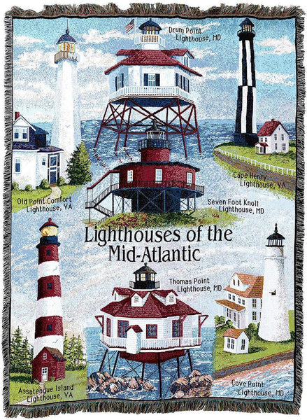 Throw Blanket-Woven Tapestry-Coastal-Lighthousess -Mid Atlantic