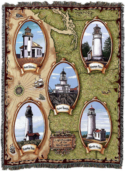 Throw Blanket-Woven Tapestry-Coastal-Lighthouses-Northwest