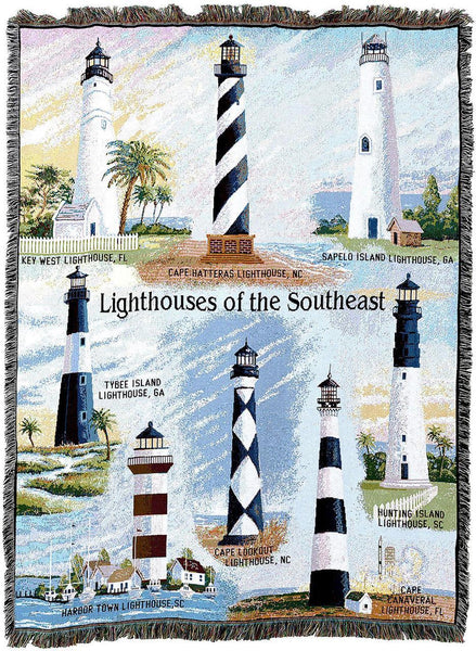 Throw Blanket-Woven Tapestry-Coastal-Lighthouses-Southeast