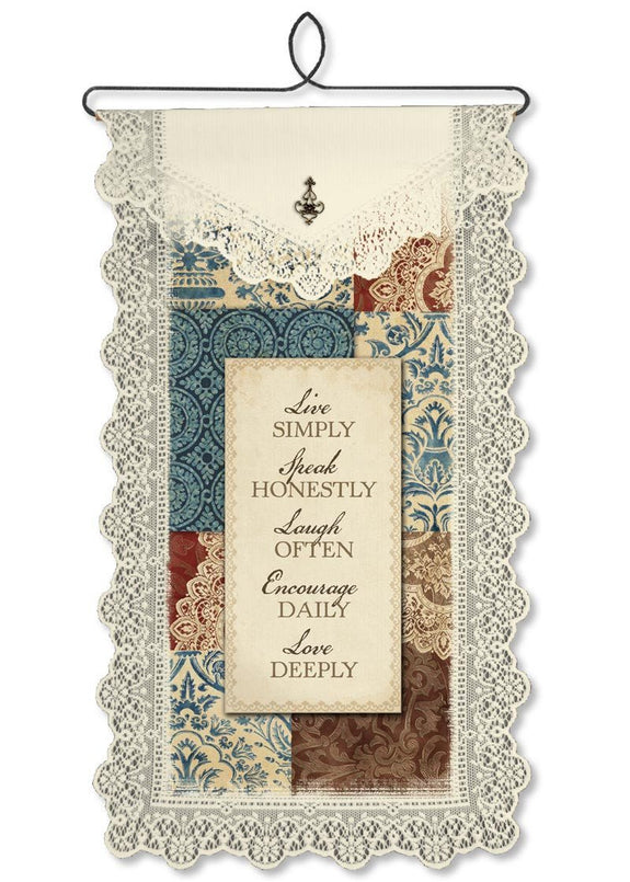 Live Simply Wallhanging from Heritage Lace - Seasonal Expressions
