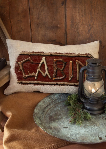 "Throw Pillow-Lodge Hollow- Cabin-12"" x 20""- Heritage Lace-The Rustic Look"