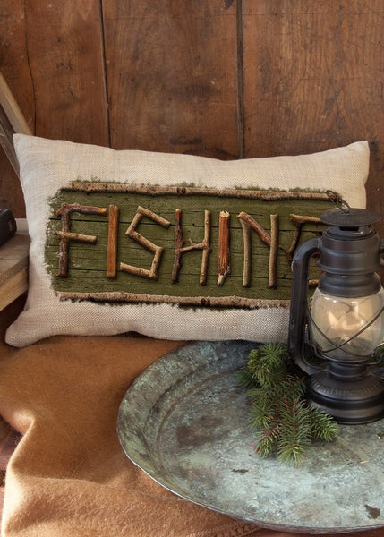 "Throw Pillow-Lodge Hollow-Fishing-12"" x 20""-Heritage Lace-The Rustic Look"
