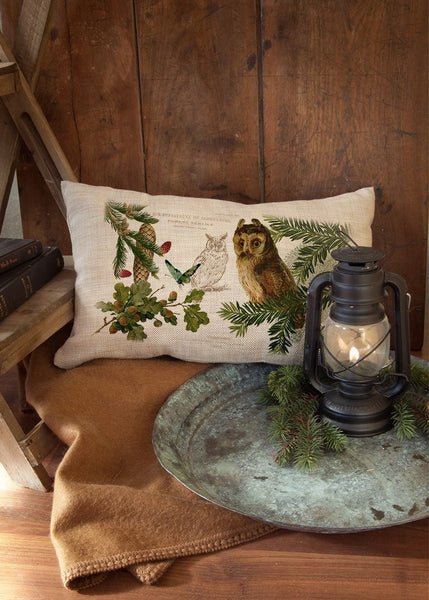 Throw Pillow-12 x 20-Rustic-Owl-Heritage Lace-Lodge Hollow