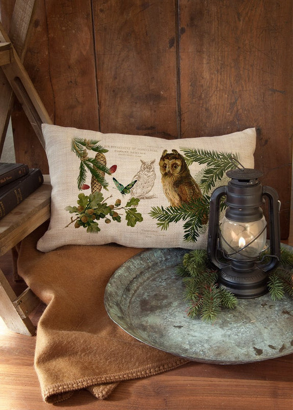 "Throw Pillow-Lodge Hollow-Owl-12"" x 20""-Heritage Lace"