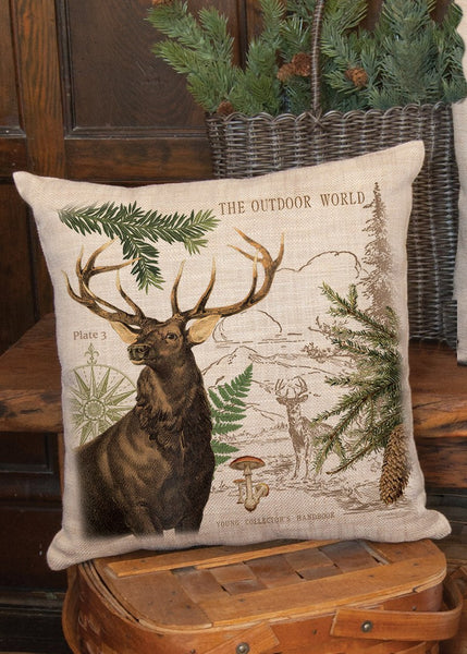 "Throw Pillow-Lodge Hollow-Elk-18"" x 18""-Heritage Lace-The Rustic Look"