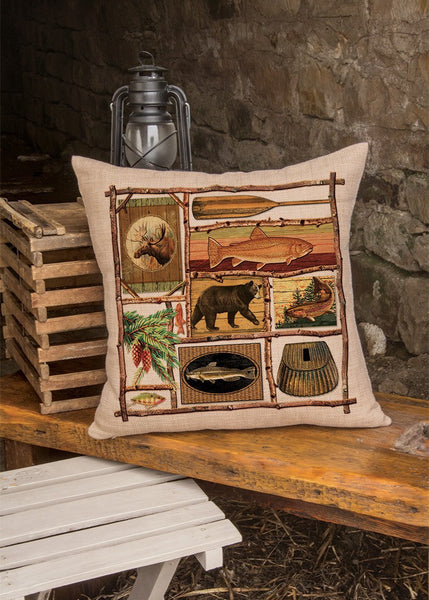 "Throw Pillow-Lodge Hollow-Fish Camp-18"" x 18""-Heritage Lace-The Rustic Look"