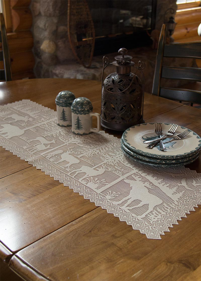 Table Linen-Runner-Dresser Scarf-Set of 2-Rustic-Lodge Hollow-Heritage Lace