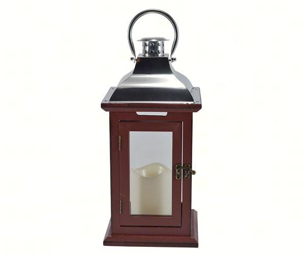 LED Rustic Wooden Carriage Lantern in Red OR White