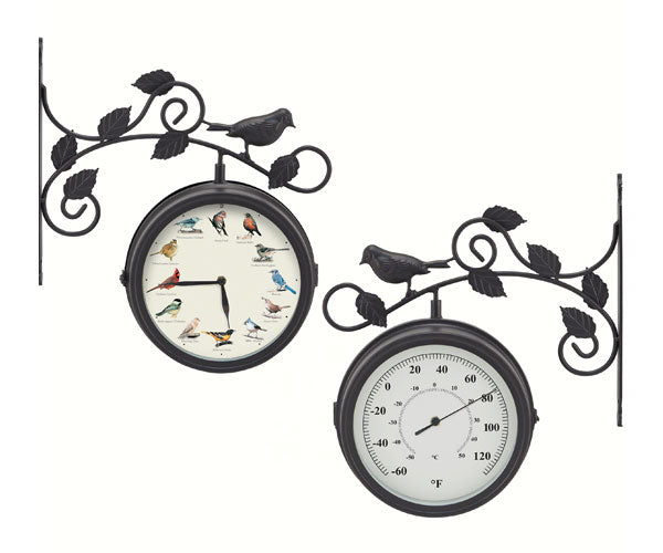 Outdoor Decor-Decorative-Bird-Clock-Thermometer