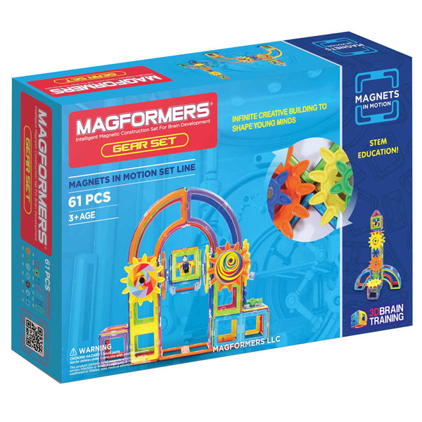 Design and Build-Magformers-61 Piece-Magnets in Motion-Gears-Creative Children