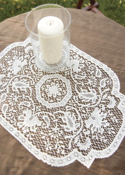 Table Linen-Placemats-Set of 4-14 x 20-Heritage Lace-Medallion