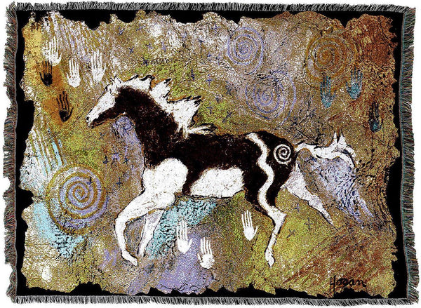 Throw Blanket-54 x 72-Animal Lover-Magical Pinto-Cave Wall-Horse