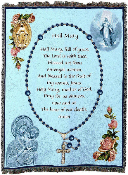 Christian Decor-Throw Blanket-54 x 72-Hail Mary-Rosary