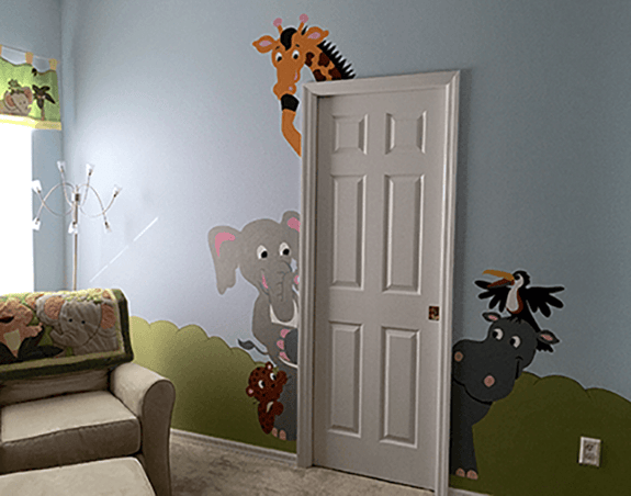 The Menagerie of Doorhuggers DIY Paint by Number Wall Mural by Elephants on the Wall - Seasonal Expressions - 3