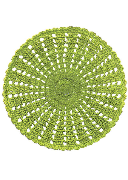 Table Linen-Doily-Set of 2-12 inch-Mode Crochet-Citron Green-Heritage Lace