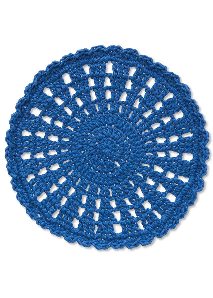 Table Linen-Doily-Mode Crochet-Set of 2-Cobalt Blue-Heritage Lace