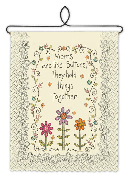 Wall Hanging-Friends-Family-Mom's Buttons-Heritage Lace