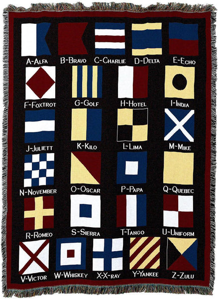 Throw Blanket-Woven Tapestry-Coastal-Nautical Flags
