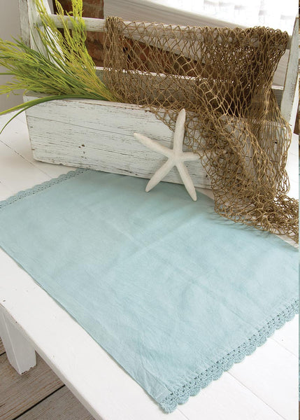 Table Linen-Placemats-Set of 4-14 x 20-Aqua-Beach Life-Heritage Lace-Newport