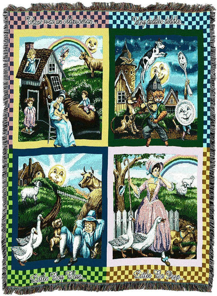 Throw Blanket-54 x 72-Woven-Babies-Children-Nursery Rhymes