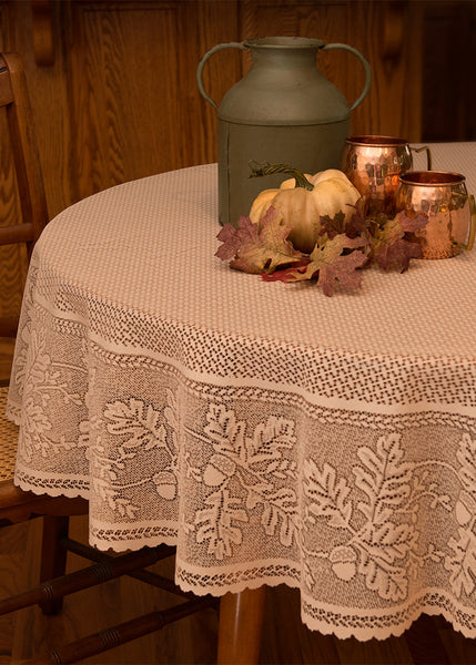 Table Linen-Table Topper-Tablecloth-Choice-Sizes-Heritage Lace-Oak Leaf