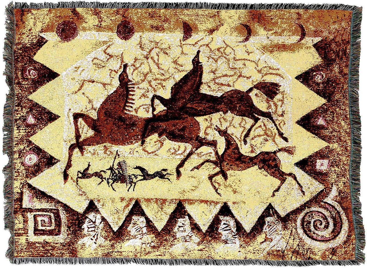 Throw Blanket-54 x 72-Animal Lover-Oglalas Story-Rock Painting-Horses