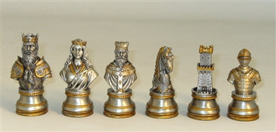 Chessmen-Pewter-Golden-Bronze-Camelot-Chess