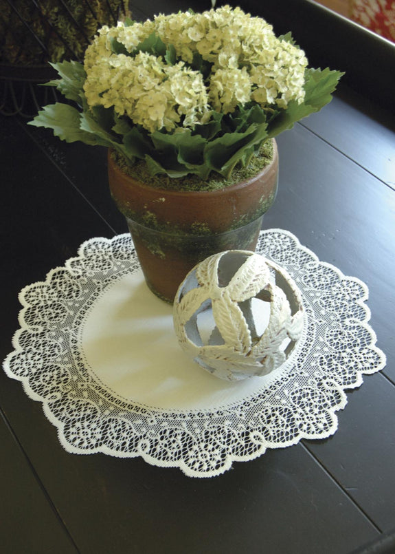 "Table Linen-Doily-Set of 2-Prelude-12""-Ecru-Heritage Lace"