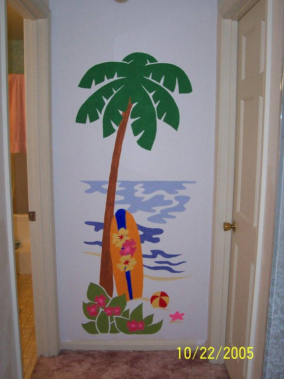 Palm Tree and Surfboard DIY Paint by Number Wall Mural by Elephants on the Wall - Seasonal Expressions - 3