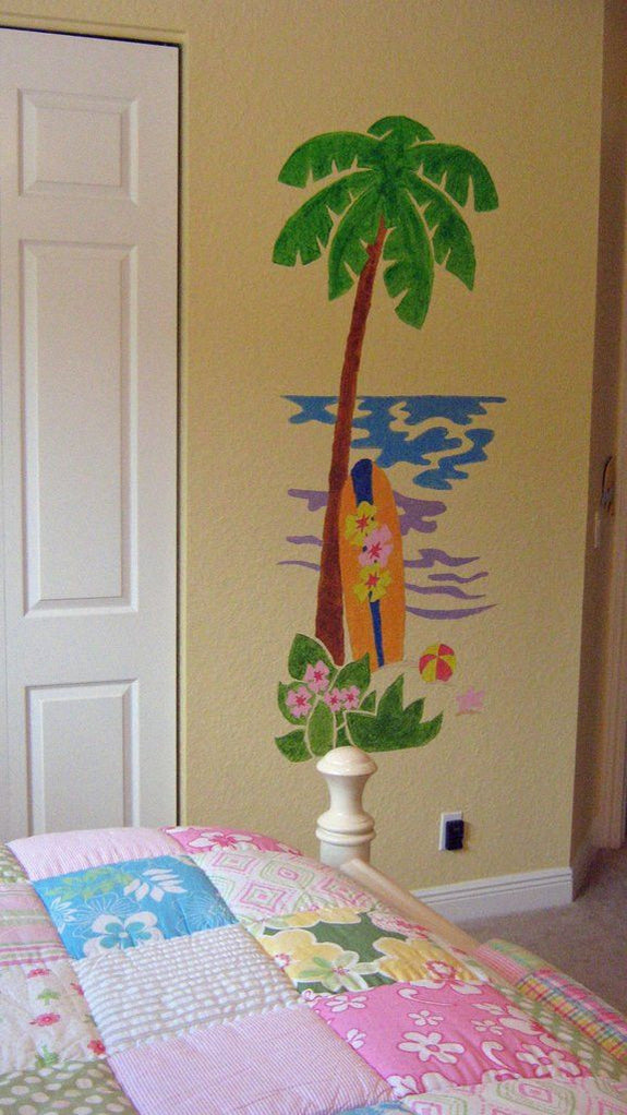 Palm Tree and Surfboard DIY Paint by Number Wall Mural by Elephants on the Wall - Seasonal Expressions - 2