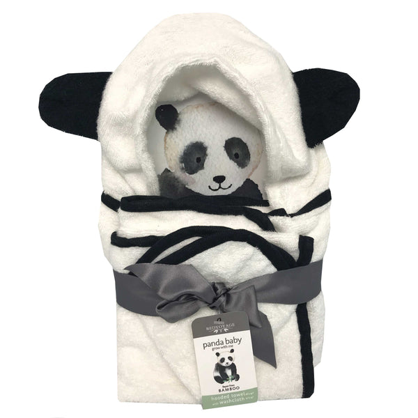 Bathtime-Panda Baby-Hooded-Bath Towel Set-Bed Voyage