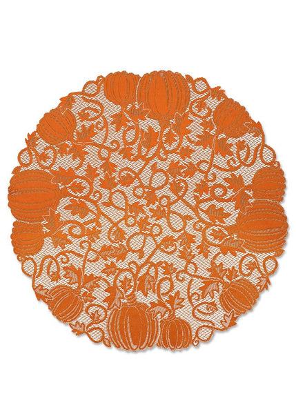 "Table Linen-Table Topper-Tablecloth-Seasonal-42"" Round-Pumpkin Vine"