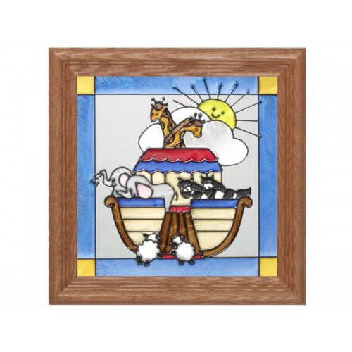 Christian Decor-Art Glass Panel-Noah's Ark-Babies and Children-Made in USA