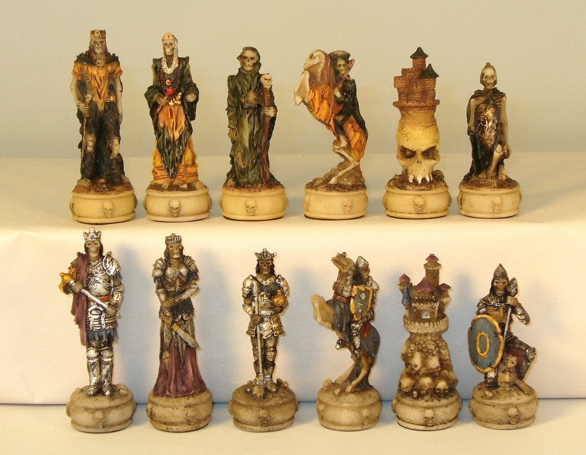 Chessmen-Skeleton Knights- Painted Resin