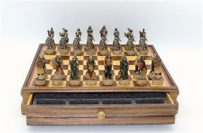 Chess Set-Chest with Drawer-Skeleton Kings