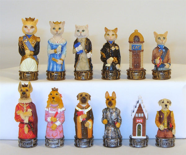 Chessmen-Cats and Dogs- Hand Painted Resin