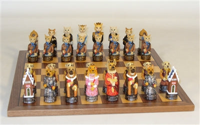 Chess Set-Cats and Dogs-Resin Chessmen-Walnut-Maple Board