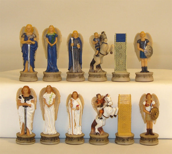 Chessmen-Angels-Blue-White Painted Resin
