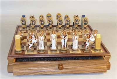 Chess Set-Blue-White-Angel-Resin Men-Wood Inlaid Chest