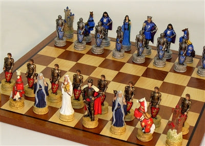 Chess Set-King Arthur Chessmen-Sapele-Maple Board
