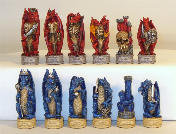 Chessmen-Justice vs. Evil -Dragon's Keep- Painted Resin