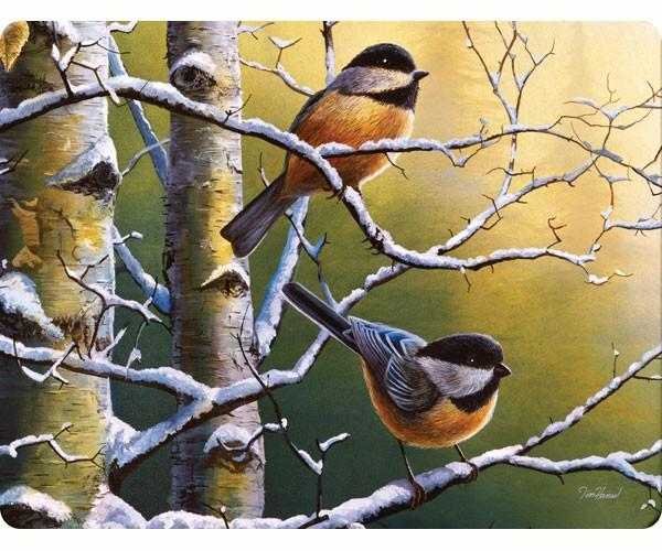 Tempered Glass-Cutting Board-Chickadees