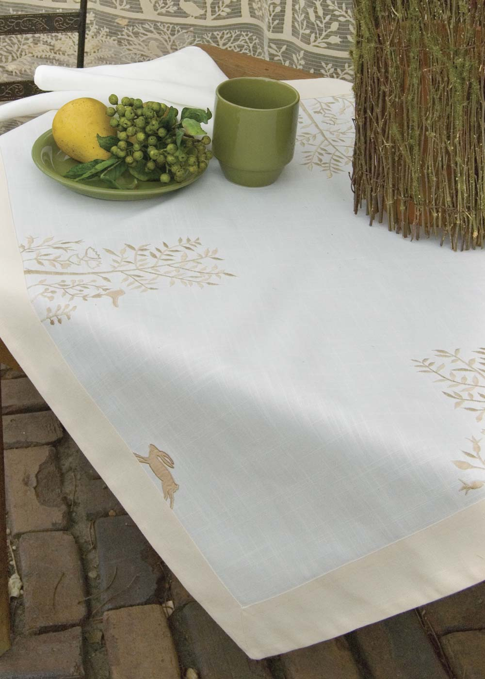 Table Linen-Tablecloth-Table Topper-36x36-Heritage Lace-Rabbit Hollow