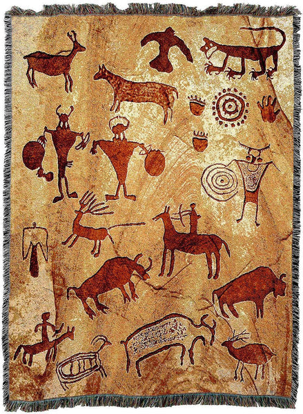 Throw Blanket-54 x 72-Matching-Throw Pillow-Southwest-Rock Art of the Ancients
