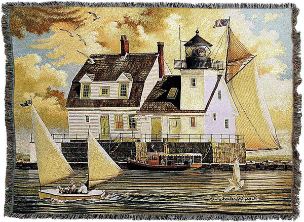 Throw Blanket-Woven Tapestry-Coastal-Rockland Breakwater