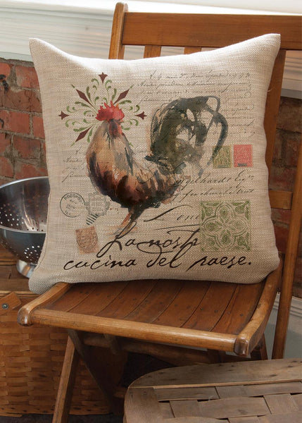 Throw Pillow-18 x 18-Country Life-Heritage Lace-Rooster Run
