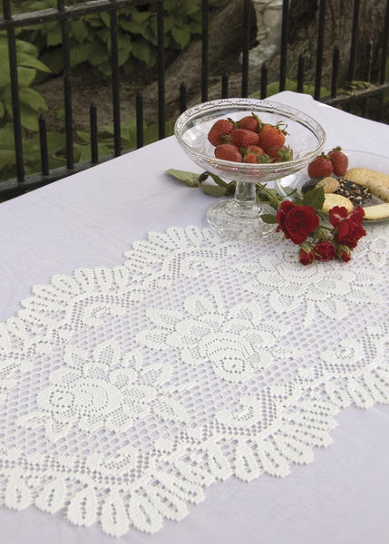Table Linen-Runner-Dresser Scarf-Set of 2-Choice-Size-Color-Heritage Lace-Rose