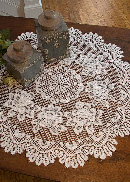 Table Linen-Table Topper-30 inch-Round-Heritage Lace-Rose
